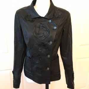 AUTHENTIC Chanel Black Leather Jacket with Camellia flowers
